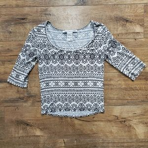 ••5-for-$25••AMERICAN RAG Crop Tee Boho Print
